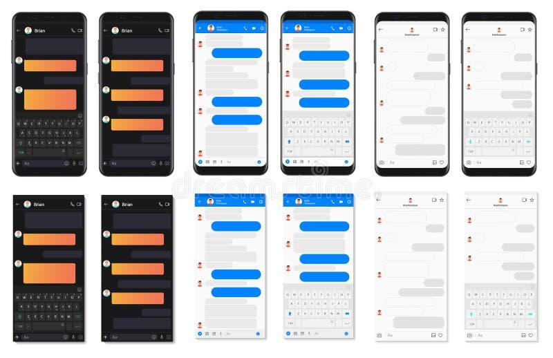 Coleção de conversa das bolhas do molde do app do smartphone detalhado realístico Compositor social dos diálogos do mensageiro da ilustração stock