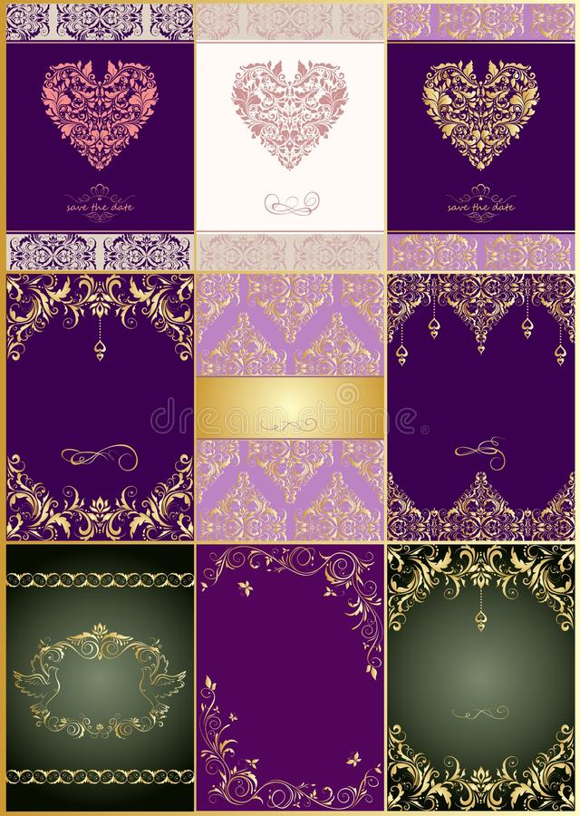 Coleção de convites bonitos do vintage do casamento com teste padrão floral ilustração do vetor