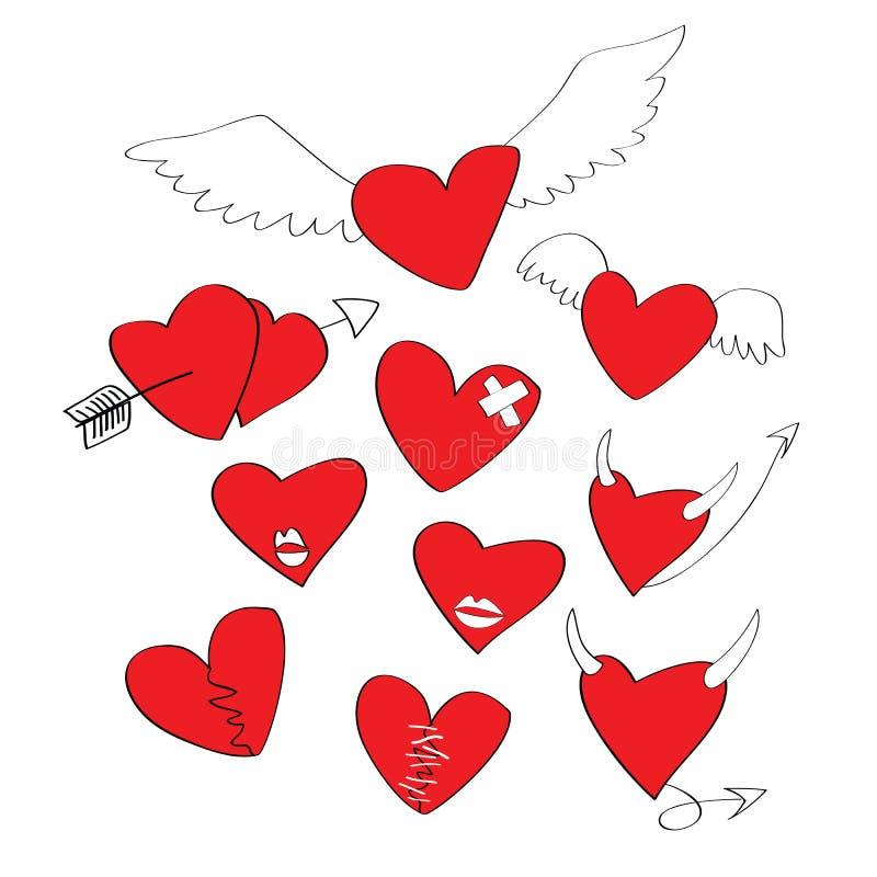 Coleção de corações dos desenhos animados ilustração do vetor