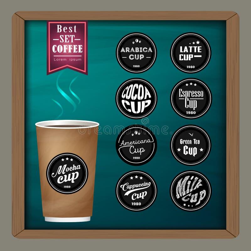 A coleção de crachás mega do café e o logotipo projetam no copo de café no quadro ilustração royalty free