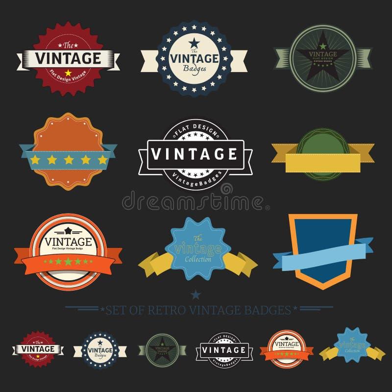 Coleção de crachás retros do vintage, projeto liso etiquetas denominadas ilustração royalty free