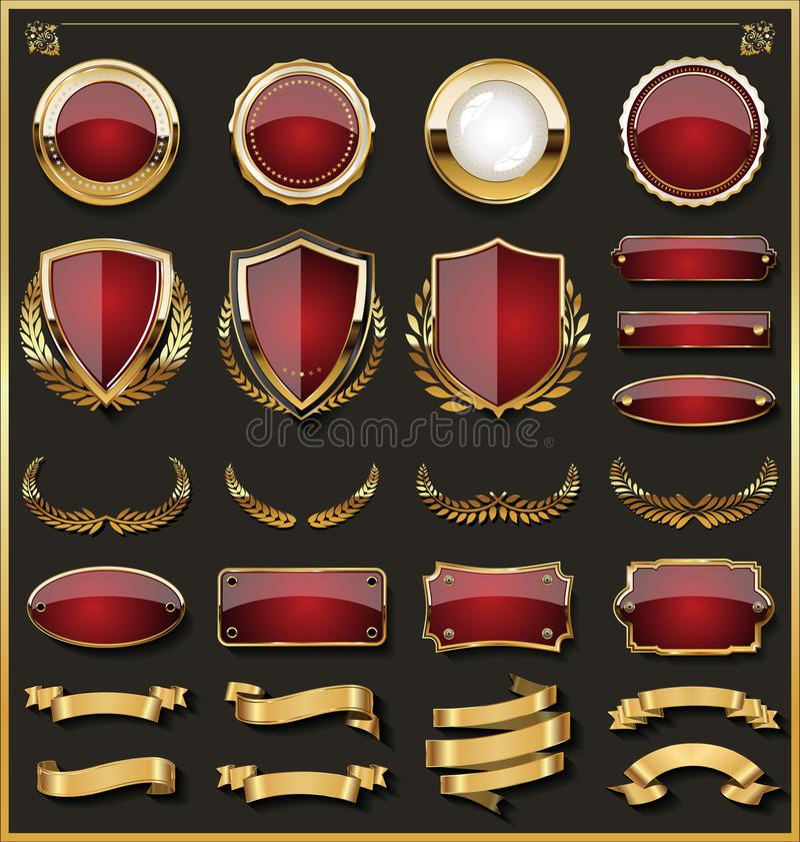 A coleção de crachás vermelhos e dourados elegantes e as etiquetas projetam elementos ilustração do vetor