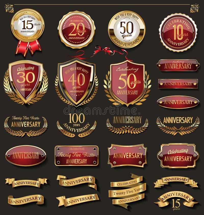 A coleção de crachás vermelhos e dourados elegantes do aniversário e as etiquetas projetam elementos ilustração do vetor