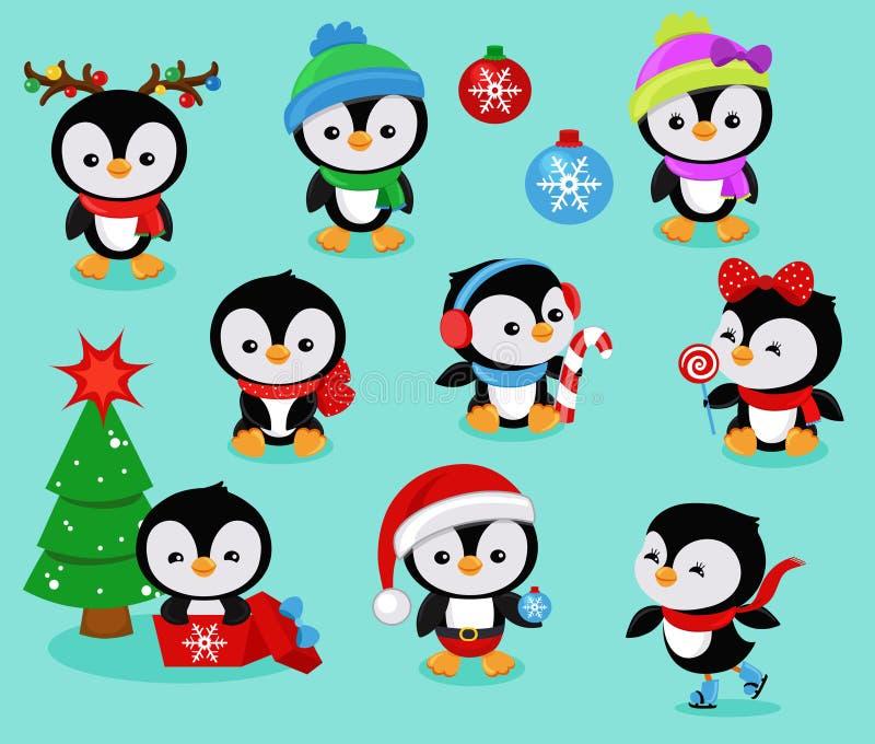 Coleção de crianças bonitos dos pinguins do Natal ilustração royalty free