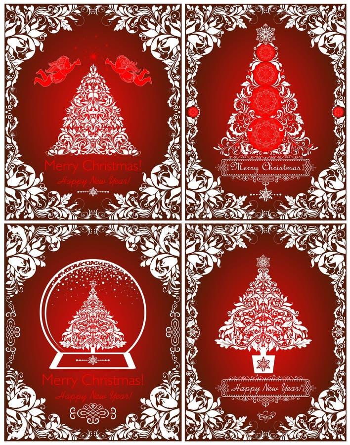 Coleção de cumprimento dos cartões vermelhos do Natal retro com anjos de papel cortados, beira floral do vintage, árvore de Natal ilustração royalty free