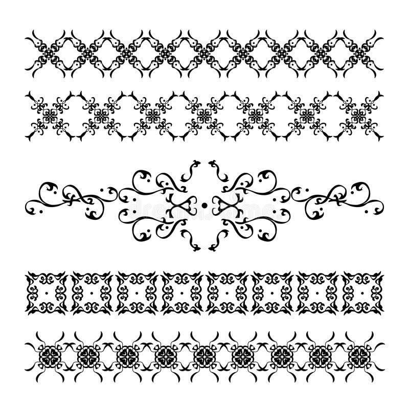 Coleção de decorações caligráficas elegantes e do vintage ilustração do vetor