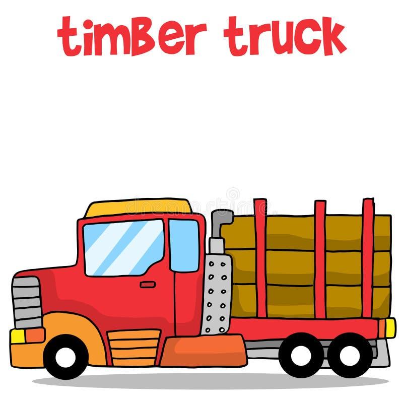 Coleção de desenhos animados do caminhão da madeira ilustração do vetor
