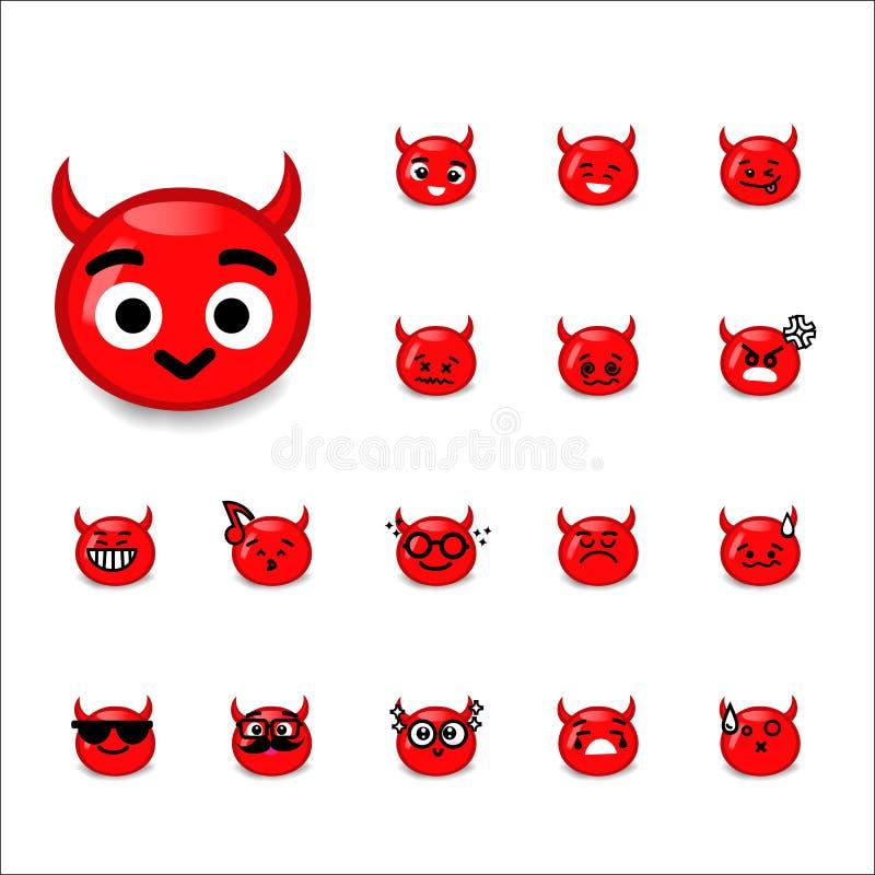 Coleção de desenhos animados do diabo do emoticon da diferença no whit ilustração stock