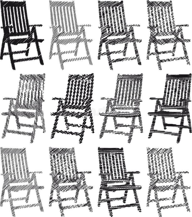 Coleção de desenhos das cadeiras ilustração do vetor
