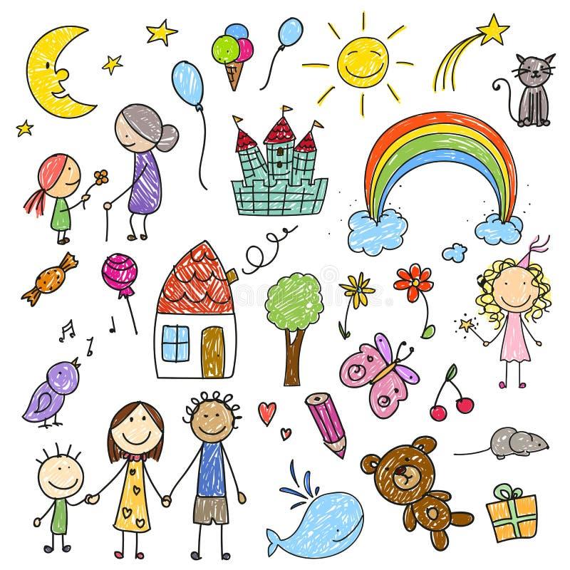 Coleção de desenhos das crianças ilustração royalty free