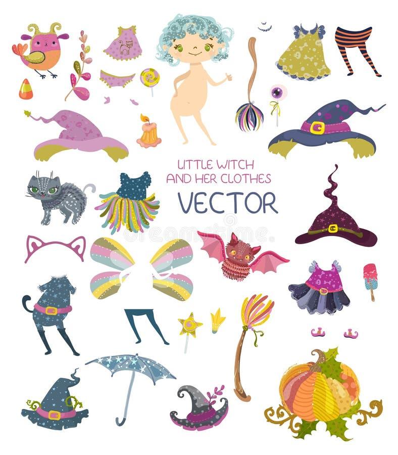 Coleção de Dia das Bruxas dos vestidos para a boneca de papel bonito ilustração do vetor