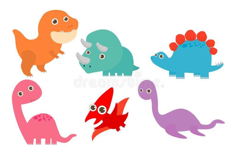 Coleção de dinossauros bonitos dos desenhos animados, grupo de dinossauros desenhos animados engraçados e caráteres isolados, iso ilustração stock