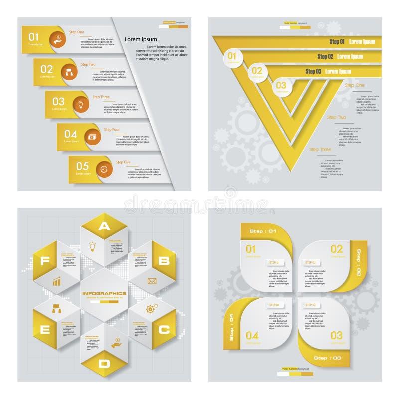 Coleção de 4 disposições amarelas do molde/gráfico ou do Web site da cor Fundo do vetor ilustração royalty free