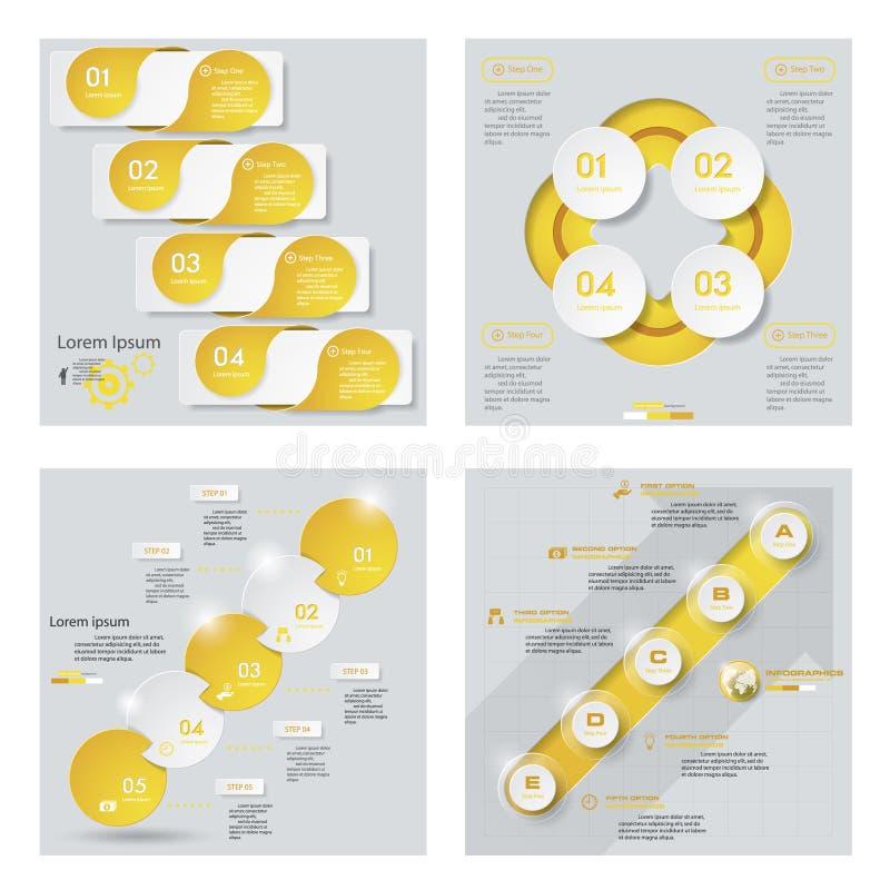Coleção de 4 disposições amarelas do molde/gráfico ou do Web site da cor Fundo do vetor ilustração stock