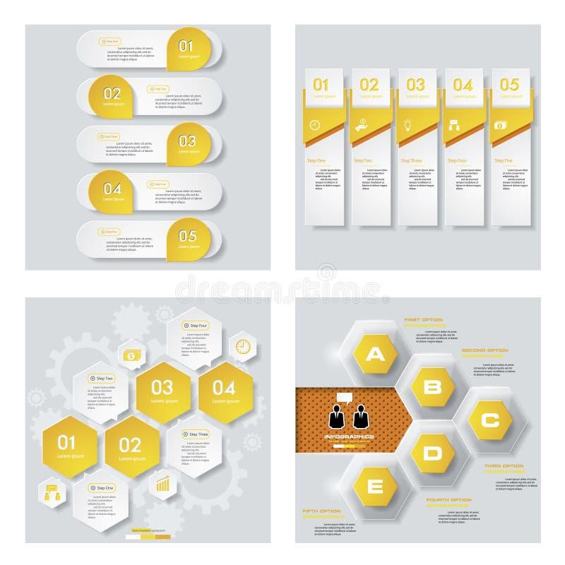 Coleção de 4 disposições amarelas do molde/gráfico ou do Web site da cor Fundo do vetor ilustração do vetor