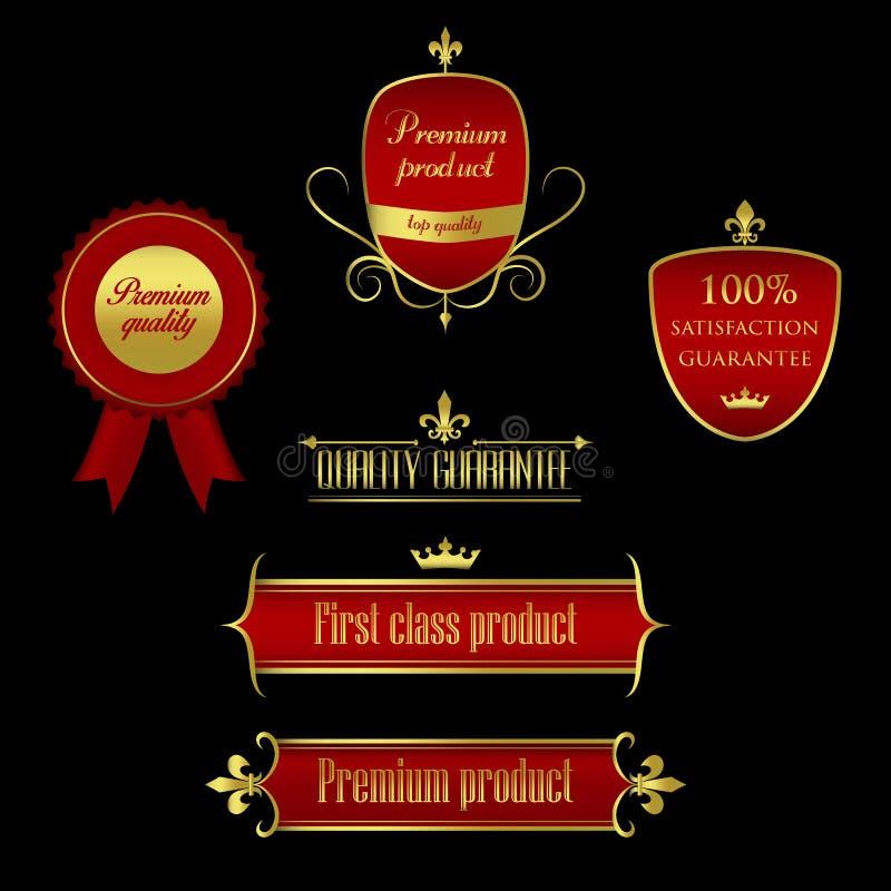 Coleção de dourado - etiquetas e quadros do vermelho que marcam a qualidade de produto ilustração stock