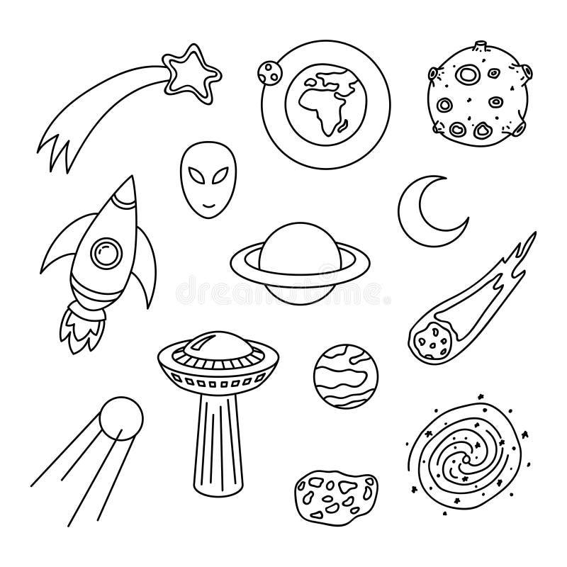 Coleção de elementos cósmicos da garatuja ilustração stock