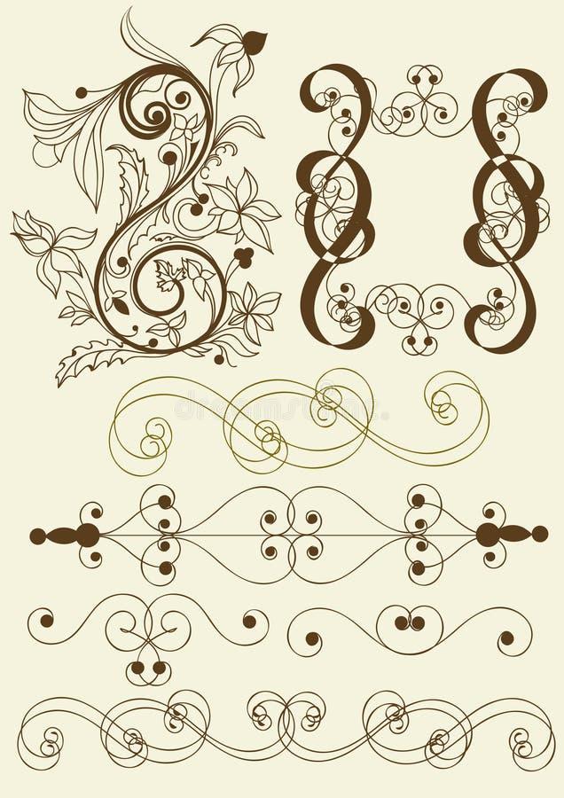 Coleção de elementos caligráficos do vetor ilustração stock