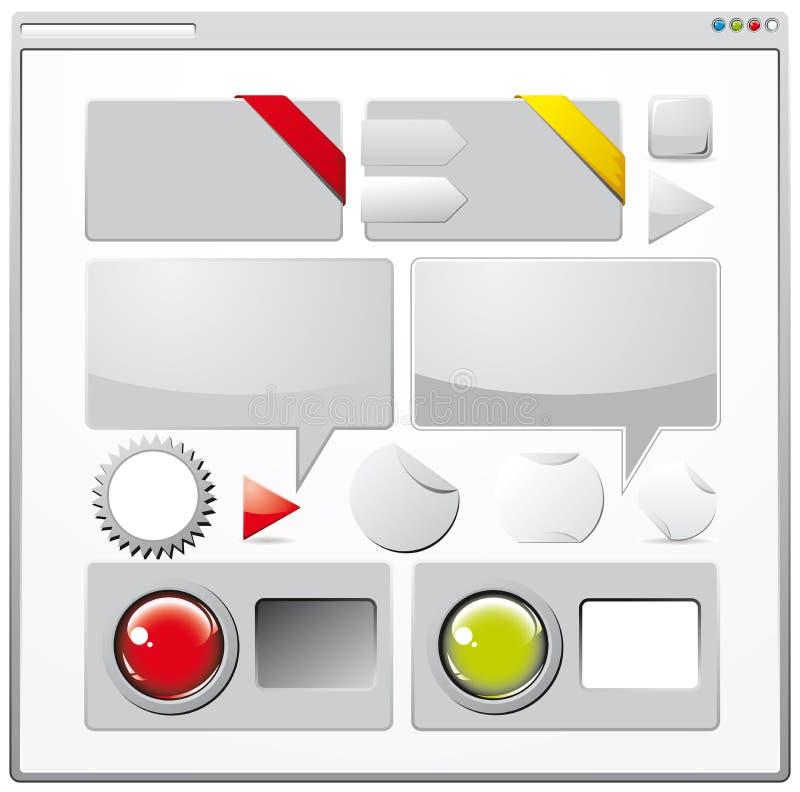 Coleção de elementos coloridos do Web ilustração do vetor
