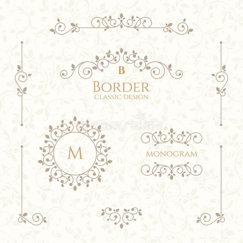 Coleção de elementos decorativos Beiras, monogramas e teste padrão sem emenda ilustração do vetor