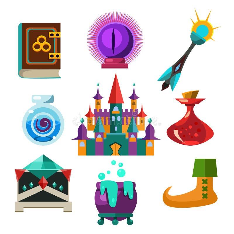 Coleção de elementos do conto de fadas do vetor ilustração royalty free