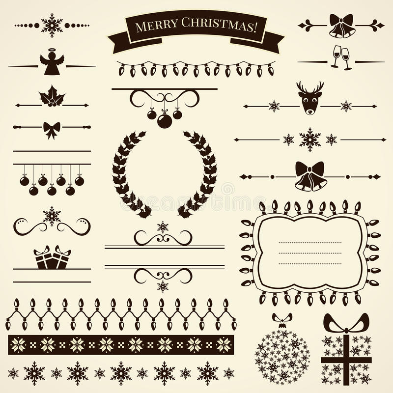 Coleção de elementos do projeto do Natal. Ilustração do vetor. ilustração do vetor
