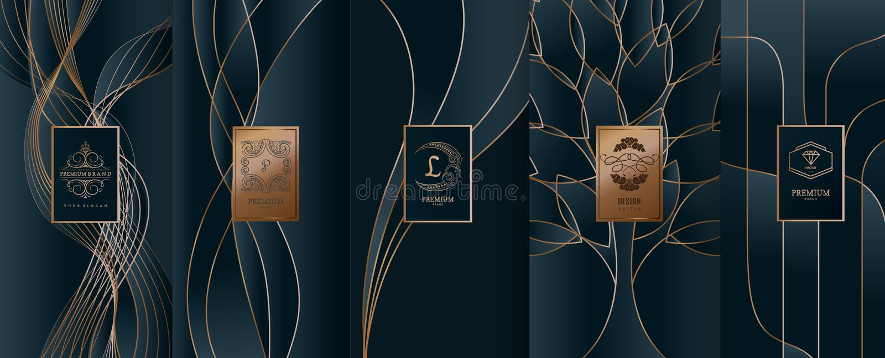 Coleção de elementos do projeto, etiquetas, ícone, quadros, para empacotar, ilustração do vetor