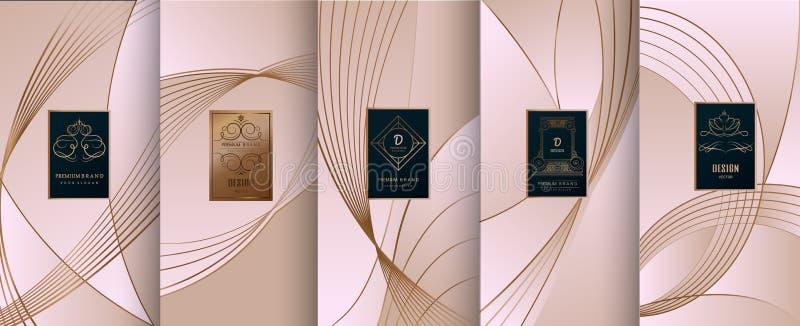Coleção de elementos do projeto, etiquetas, ícone, quadros, para empacotar, ilustração royalty free