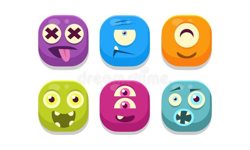 Coleção de emoticons brilhantes dos botões com emoções diferentes, ilustração do vetor dos monstro do emoji ilustração do vetor