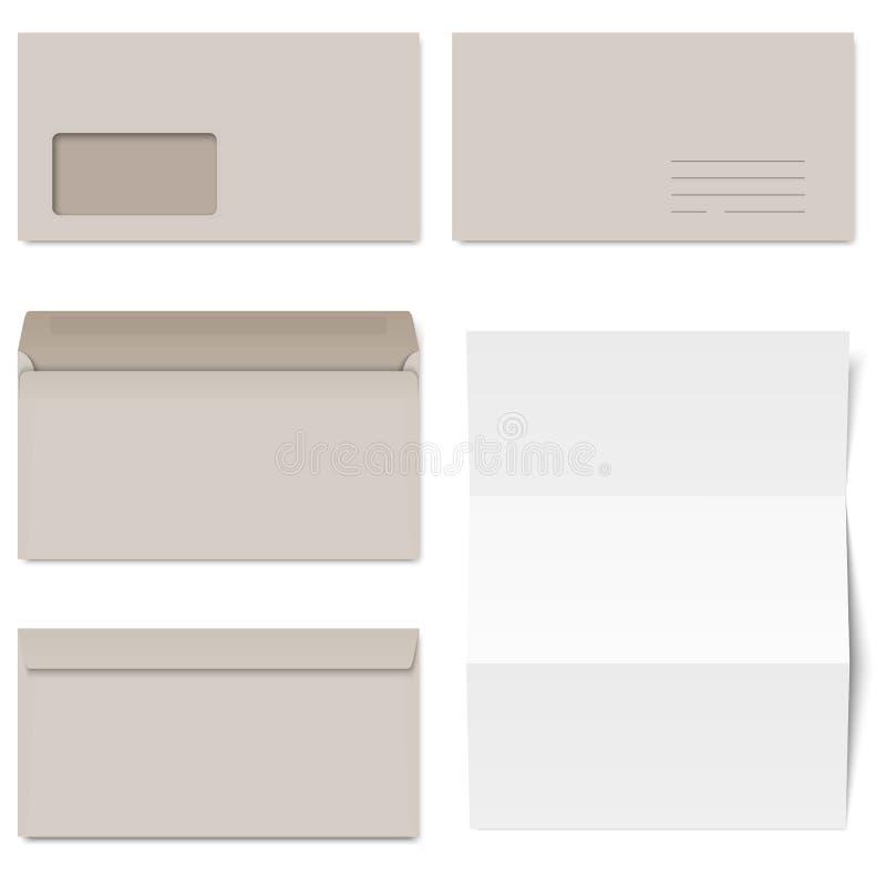 Coleção de envelopes cinzentos + Livro Branco ilustração stock