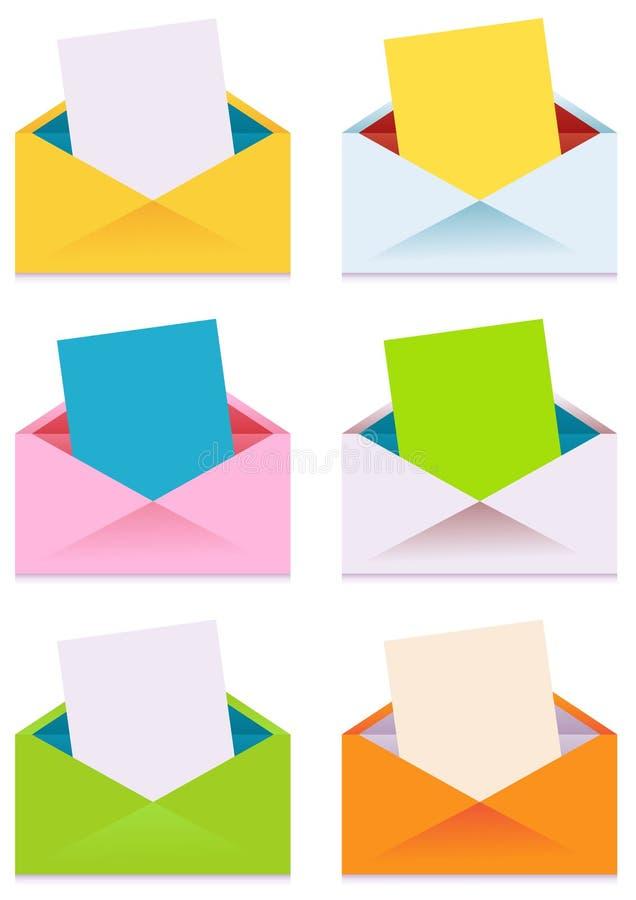 Coleção de envelopes coloridos ilustração royalty free