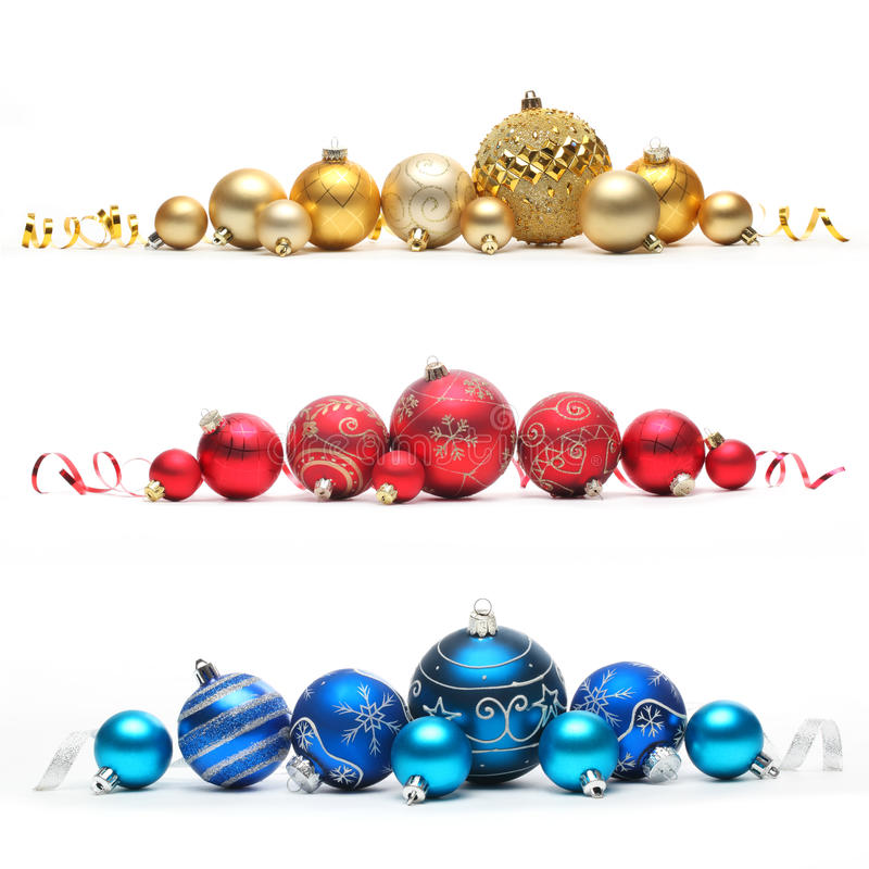 Coleção de esferas coloridas do Natal fotografia de stock