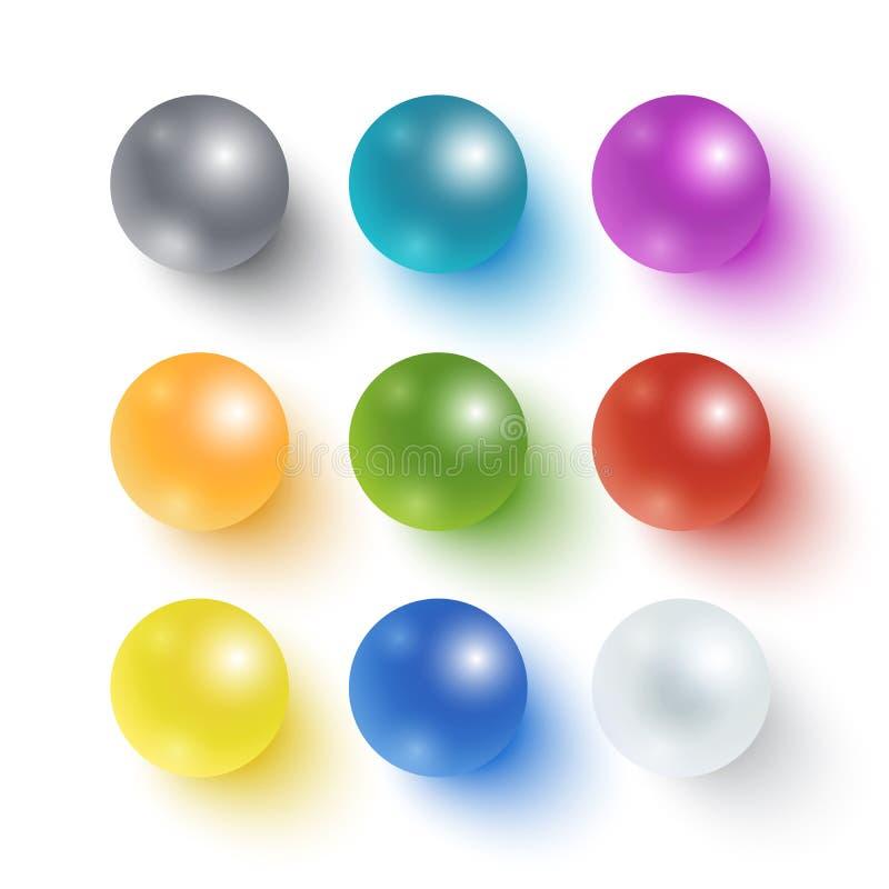 Coleção de esferas lustrosas coloridas ilustração royalty free