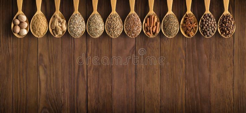Coleção de especiarias e de ervas indianas na aba de madeira do fundo fotografia de stock