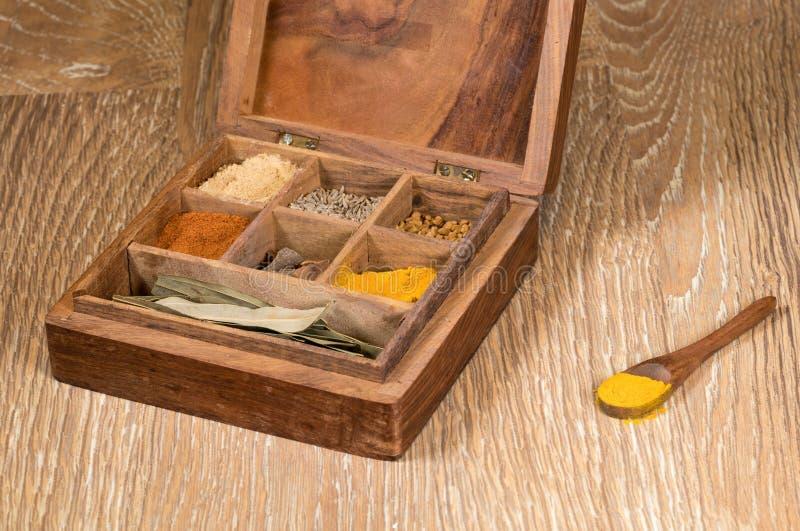 Coleção de especiarias indianas na caixa de madeira imagem de stock royalty free