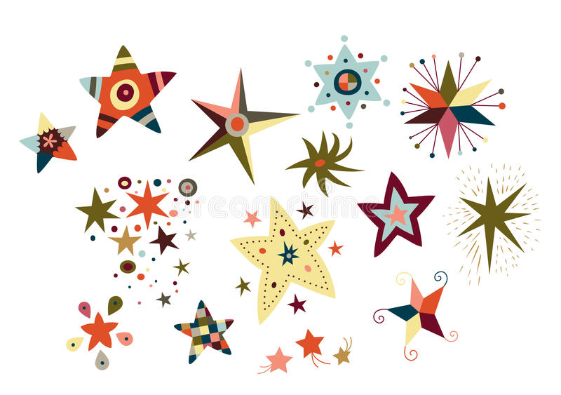 Coleção de estrelas decorativas ilustração do vetor