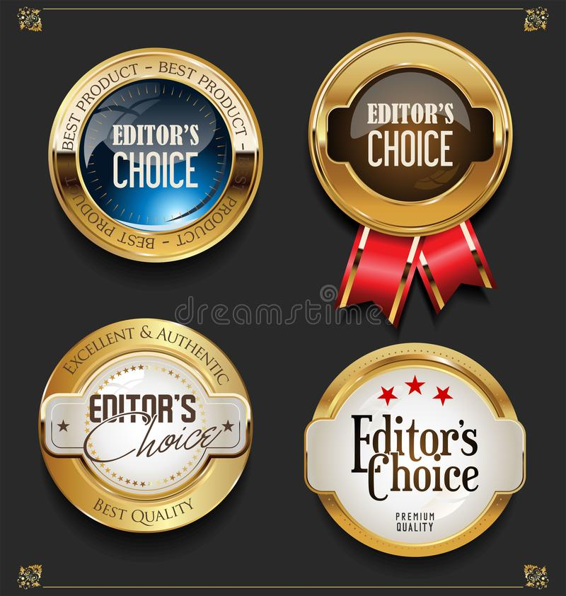Coleção de etiquetas bem escolhidas dos editores superiores dourados elegantes ilustração stock