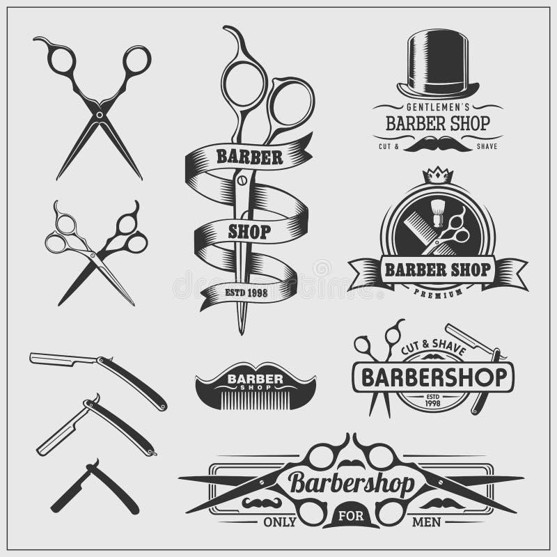Coleção de etiquetas da barbearia do vintage, de logotipo e de elemento do projeto ilustração royalty free