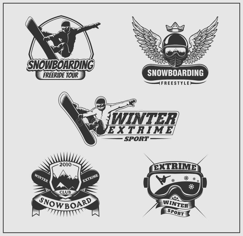 Coleção de etiquetas da snowboarding, de emblemas, de crachás e de elementos do projeto ilustração do vetor