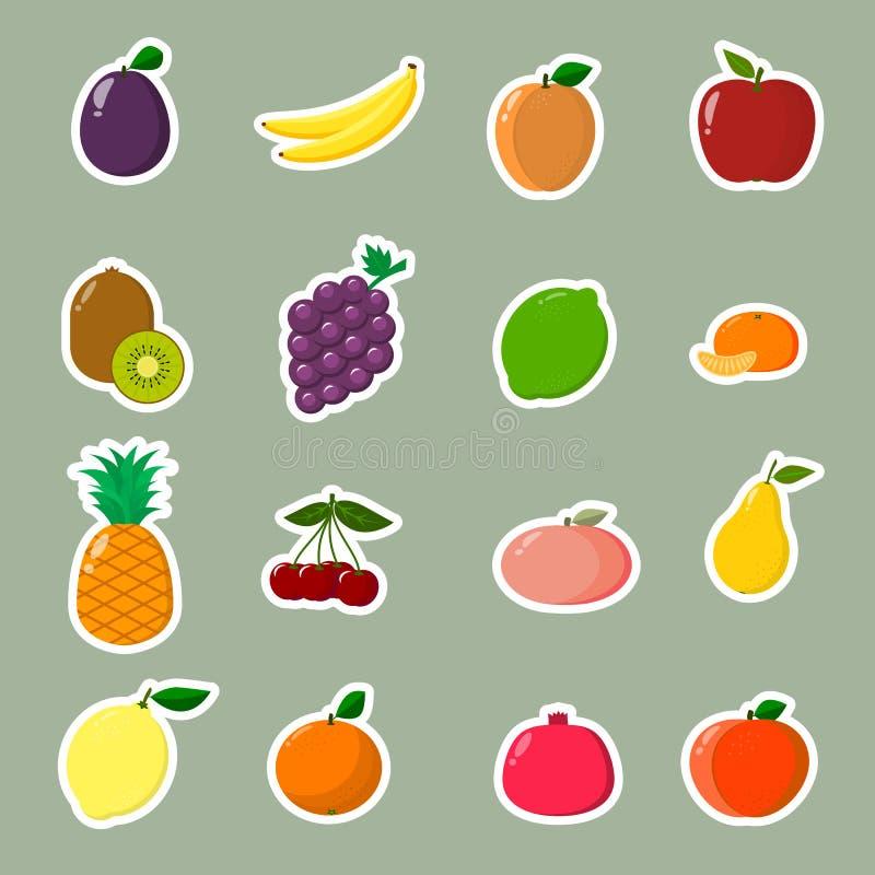 Coleção de etiquetas do fruto Uma coleção de etiquetas do fruto com um curso branco em um estilo liso ilustração stock