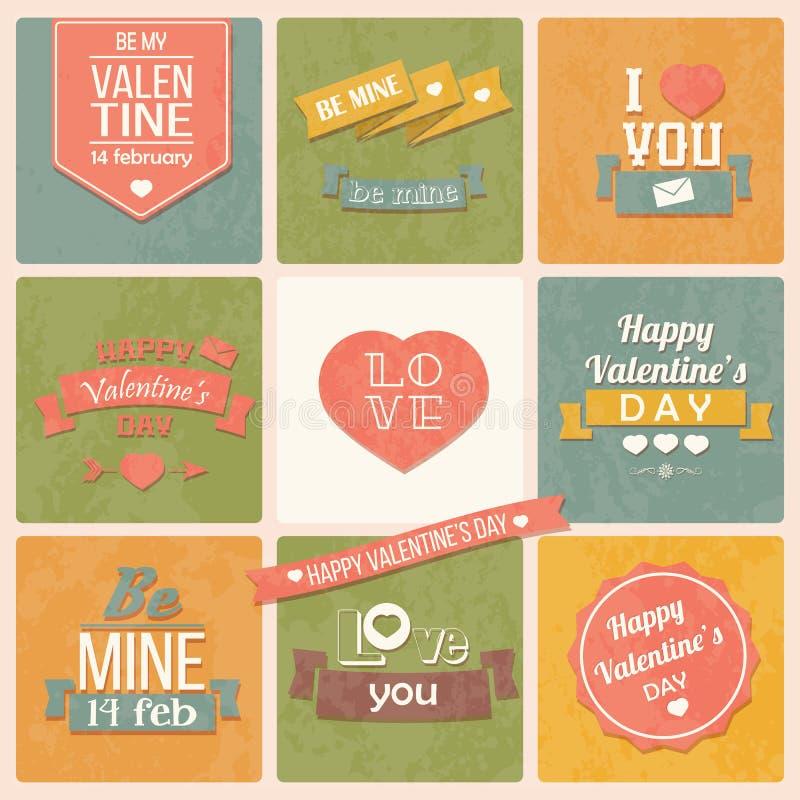 Coleção de etiquetas do vintage do dia de Valentim, projeto tipográfico ilustração do vetor