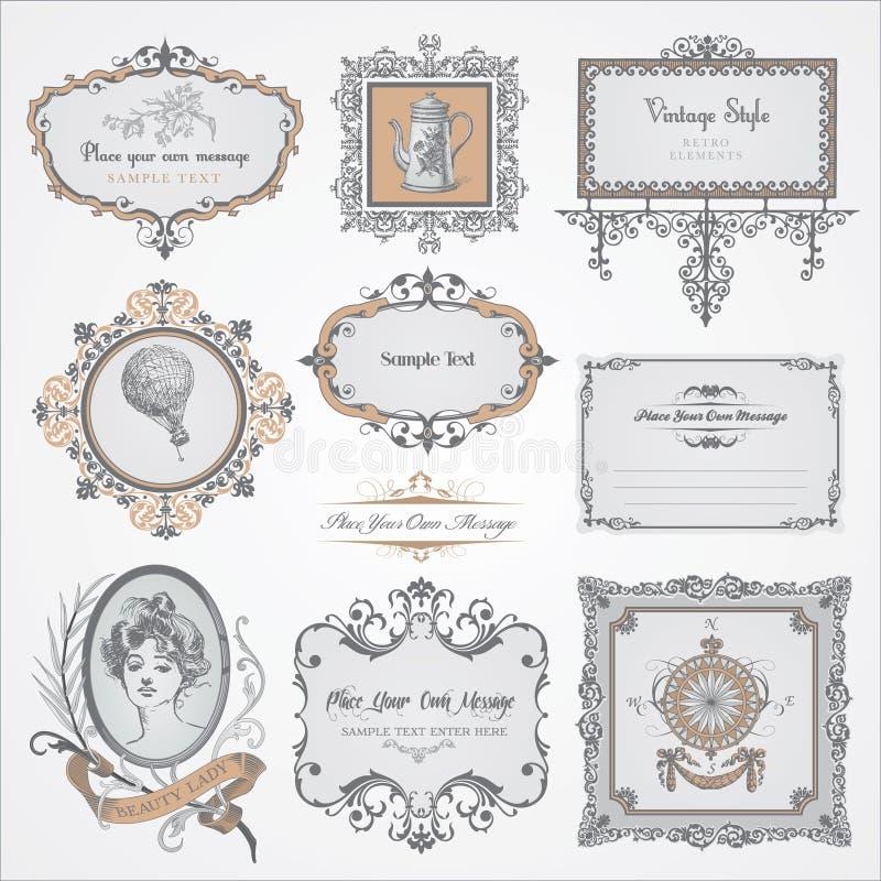 Coleção de etiquetas e de etiquetas do vintage ilustração stock
