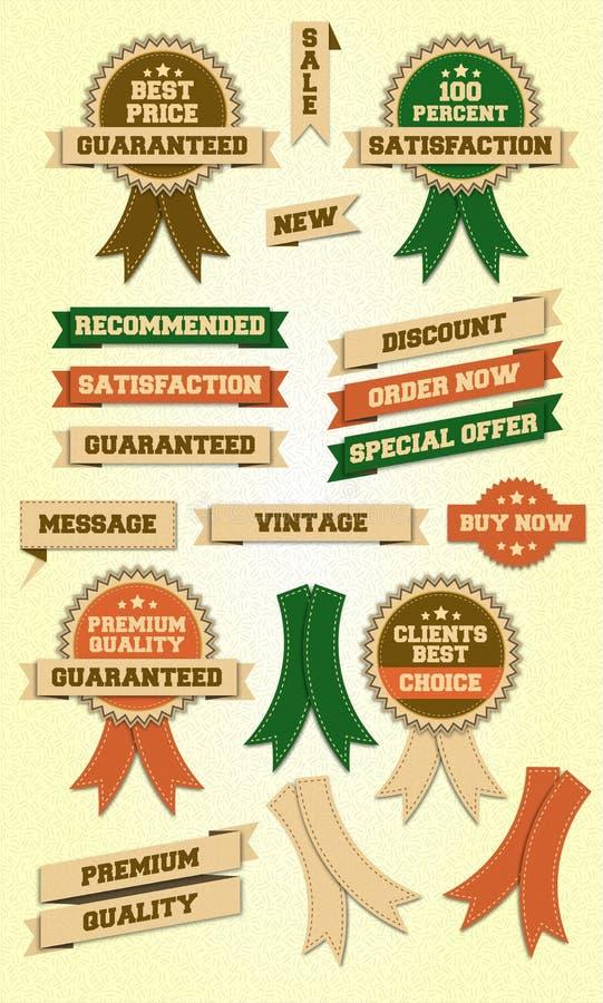 Etiquetas e fitas do vintage imagem de stock