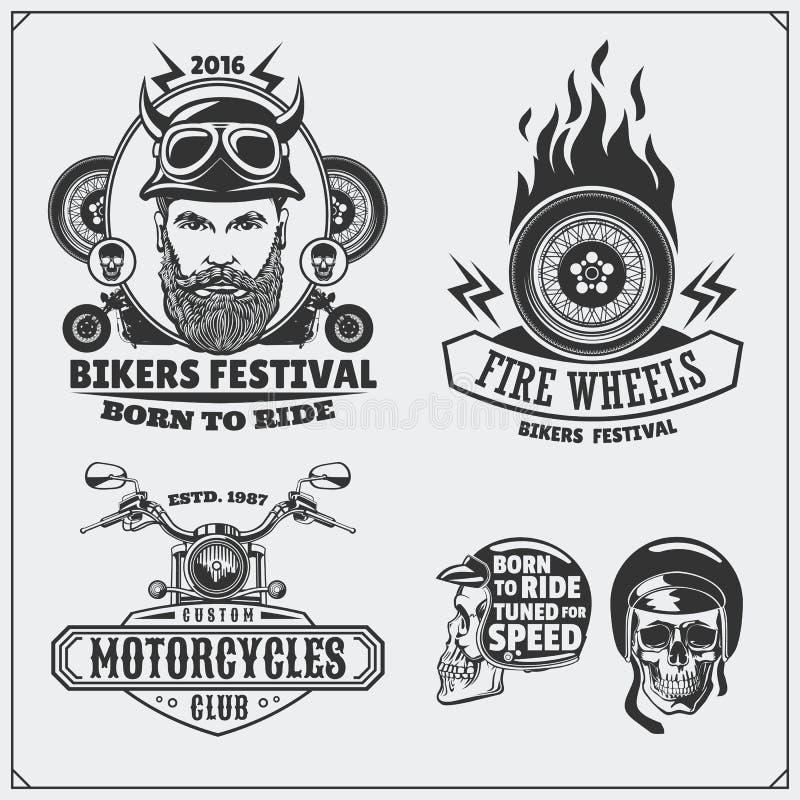 Coleção de etiquetas retros da motocicleta, de emblemas, de crachás e de elementos do projeto Estilo do vintage ilustração royalty free