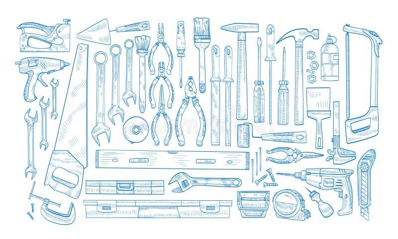 A coleção de ferramentas elétricas manuais e postas para o woodworking, o reparo home e a manutenção entrega tirado com azul ilustração stock