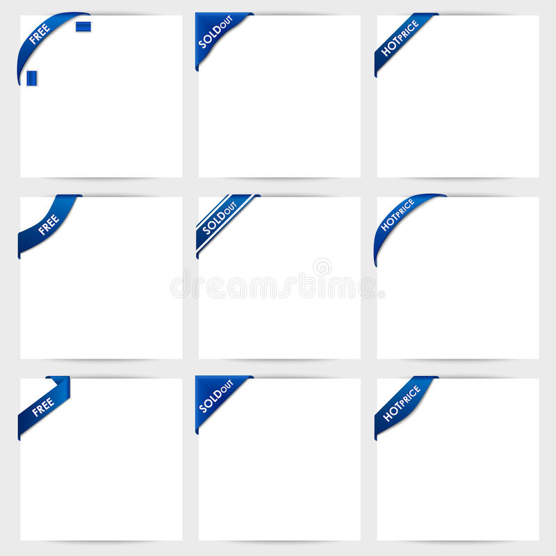 A coleção de fitas de canto azuis livra, vendido para fora, ho ilustração royalty free