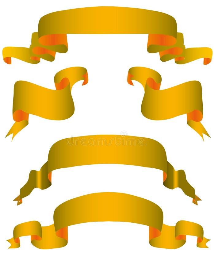 Coleção de fitas do ouro ilustração royalty free