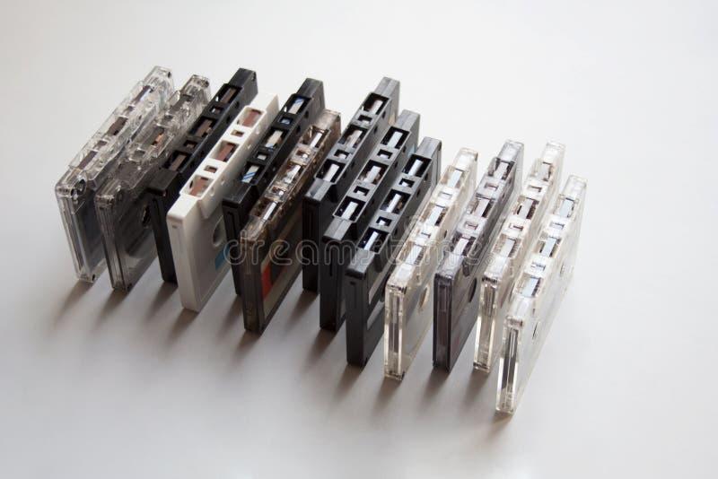 Coleção de fitas retros da cassete áudio fotos de stock royalty free