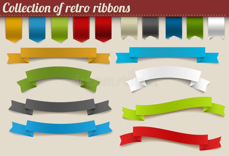 Coleção de fitas retros do vetor colorido ilustração royalty free