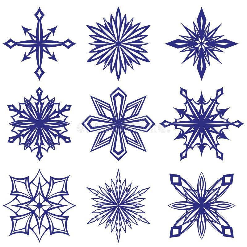 Coleção de flocos de neve decorativos grupo, inverno, esboço da ilustração do vetor da geada ilustração royalty free